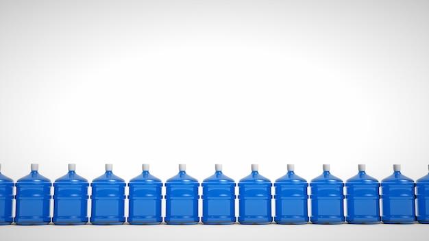 白い背景に分離された大きなペットボトルの飲料水。 3dレンダリング。