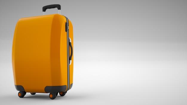 明るいオレンジ色のトラベルバッグが分離されました。 3dレンダリング