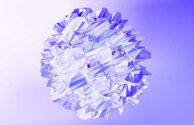 3d визуализация. абстрактный геометрический кристалл, переливающийся, ограненный камень.