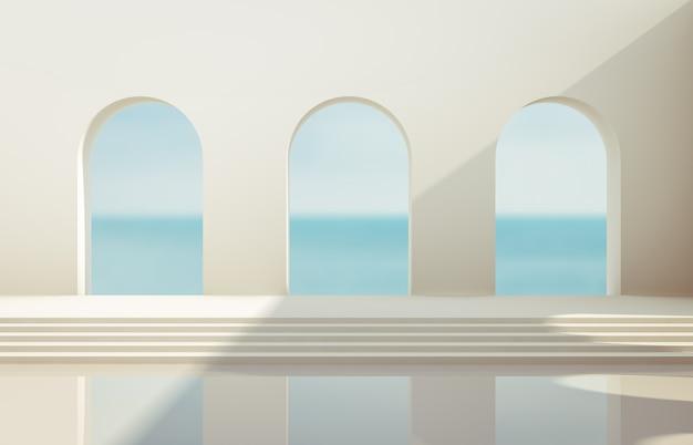 幾何学的な形のシーン、自然光の下で表彰台のあるアーチ。最小限の風景の背景。海の眺め。 3dレンダリングの背景。
