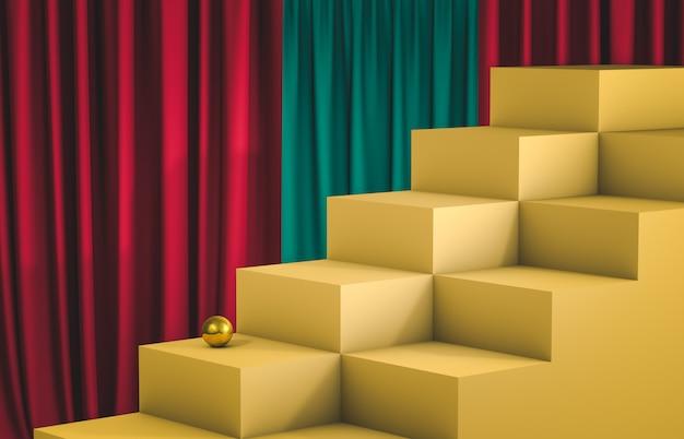 空のキューブボックス階段で表彰台を表示します。高級シーン。 3dレンダリング