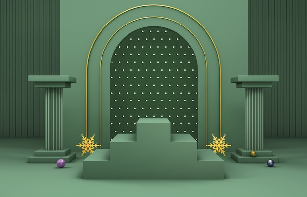 Абстрактная 3d композиция. зимний новогодний фон для отображения продукта.