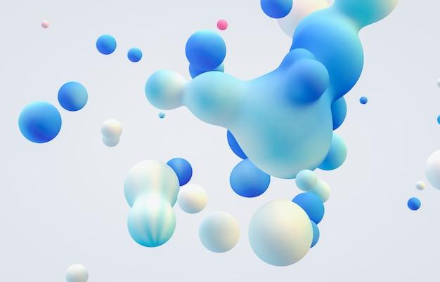 Абстрактное искусство 3d фон. голографические плавающие жидкие капли, мыльные пузыри, метаболлы.