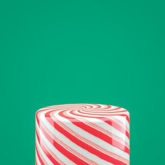 Опорожните красную коробку цилиндра конфеты для дисплея продукта. 3d новогодний фон.