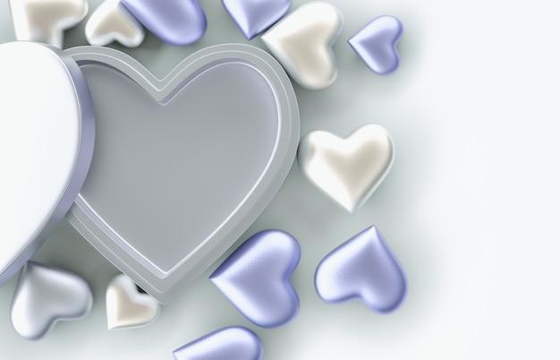 製品表示用の空の青いハートギフトボックス。バレンタインデーの背景。ピンクの背景。 3dレンダリング。上面図。平干し。