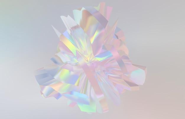 Абстрактный геометрический кристаллический фон, переливающаяся структура, ограненный драгоценный камень, жидкость. 3d визуализация.