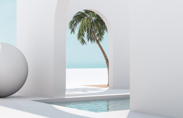 幾何学的な形のシーン、自然光の中で表彰台のあるアーチ。最小限の風景の背景。海の眺め。夏のシーン。 3dレンダリングの背景。