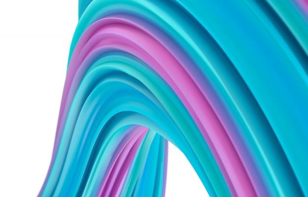 Абстрактное искусство 3d фон. красочная геометрическая волнистая линия формы композиции. полосатый рисунок.