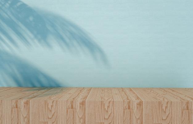 製品プレゼンテーションの背景。木製の床と熱帯のヤシの木は、化粧品の展示のために影を残します。 3dレンダリング。