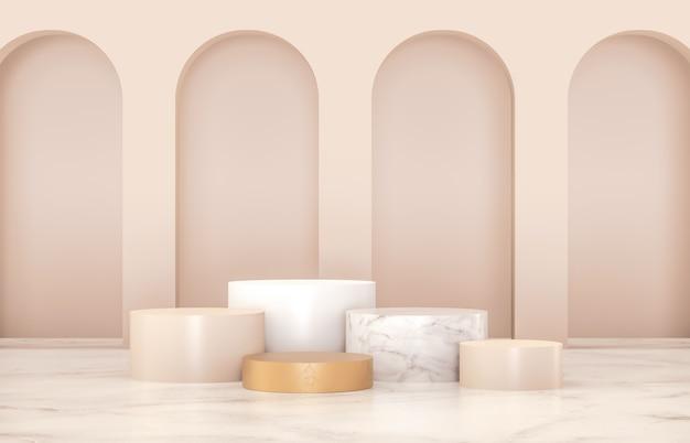 Роскошный подиум для демонстрации товара. минималистичный золотой, мраморный и белый цвета. 3d визуализация.