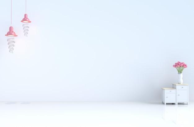 セメントの壁、タイル、ランプ、チューリップと白い空の部屋。バレンタインデー、新年。 3dレンダリング。