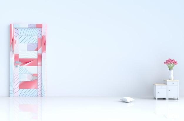 白い空の部屋。バレンタインデー。ドア、セメント壁、タイル、チューリップ。 3dレンダリング