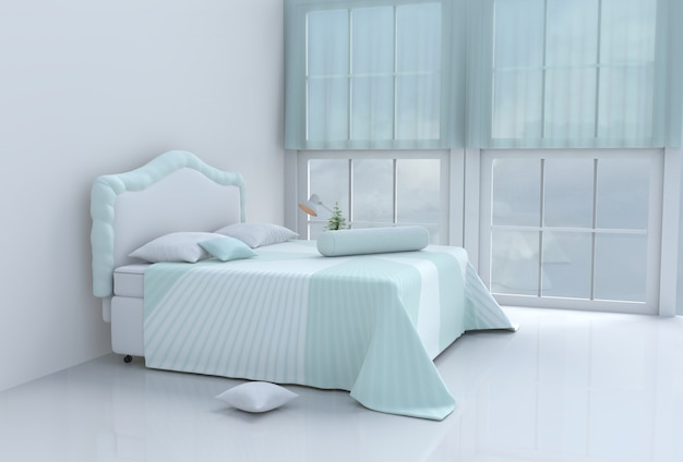 幸せな日に暖かい緑のベッドルーム。 3dレンダリング
