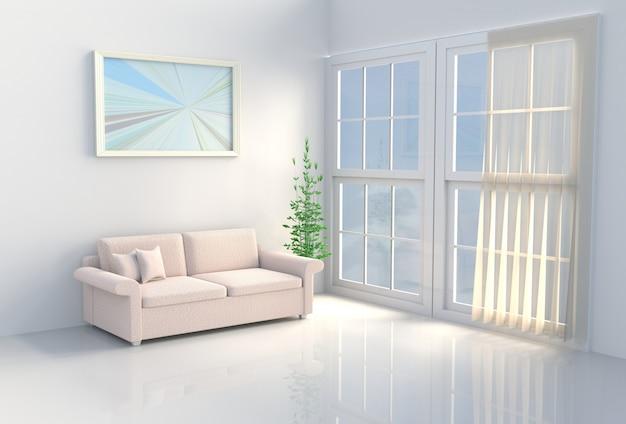 暖かい白のリビングルーム。太陽が窓から影に向かって輝いています。 3dレンダリング
