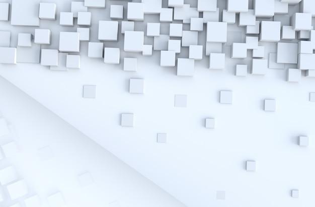 白の幾何学的な立方体形の背景。デザインを飾る。リアルな3dレンダリング