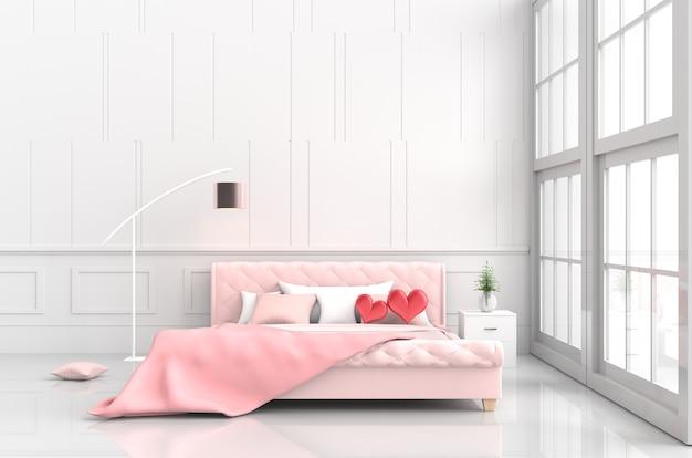 愛の飾りランプ、毛布の寝室にピンクのベッドに赤い心。バレンタインデーの愛。 3d