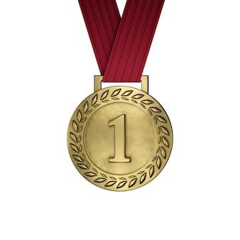 Пустая золотая медаль изолированная на белизне. 3d визуализация