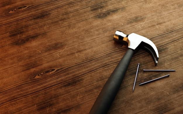 Гвозди и молоток на деревянных фоне. 3d визуализация