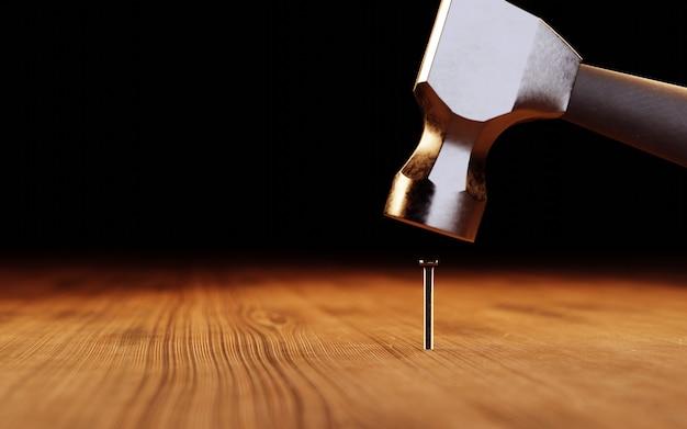 Молоток бьет по гвоздю. 3d иллюстрация