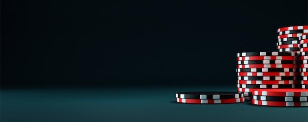 Фишки для покера на столе. 3d визуализация