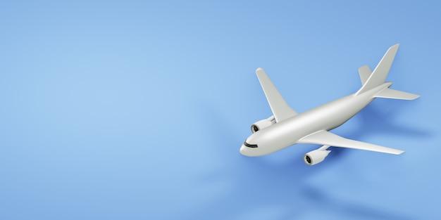 コピースペースで青い背景に白い飛行機。 3dレンダリング