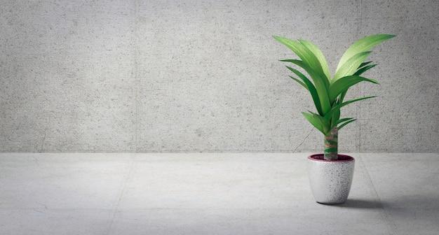 Цветок в горшке 3d визуализации
