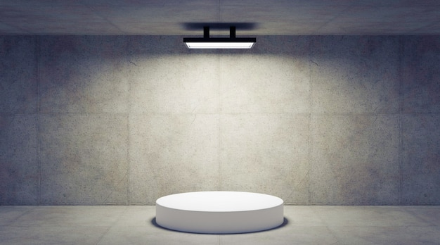 Бетонная комната с подиумом, 3d визуализация