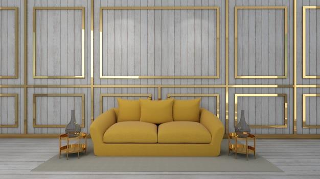 3d представляют живущей комнаты и модель-макета в деревянной предпосылке
