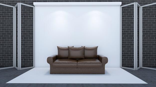 3d представляют живущей комнаты и модель-макета в студии