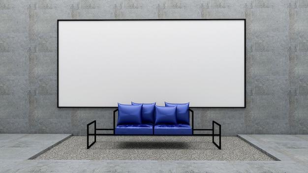 3d представляют живущей комнаты и доски на сырцовой бетонной стене, живущей комнате