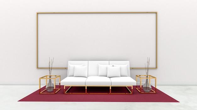 3d представляют живущей комнаты и доски на стене, живущей комнаты