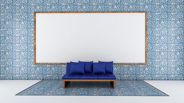3d представляют живущей комнаты и доски на стене плитки, живущей комнаты