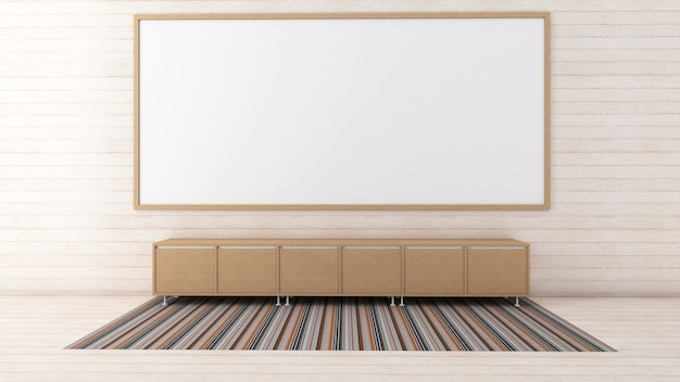 3d представляют нутряного макета живущей комнаты, ковра и низкого шкафа