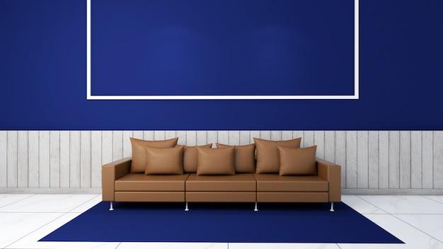3d визуализация интерьера гостиной макет, диван и ковер