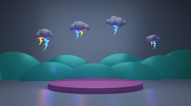 製品のディスプレイスタンドと雷雨の3dレンダリング。