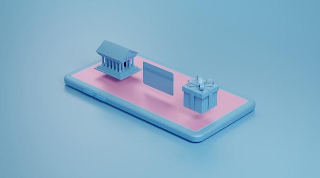 クレジットカード、ギフトボックス付きのスマートフォンの画面上の銀行の建物。 3dレンダリング。