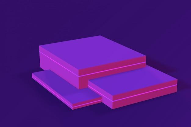 Неоновый пустой подиум, продуктовая платформа. 3d представляют, иллюстрация.