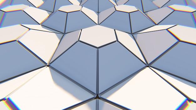 白の幾何学的な六角形の抽象的な背景。 3dイラスト