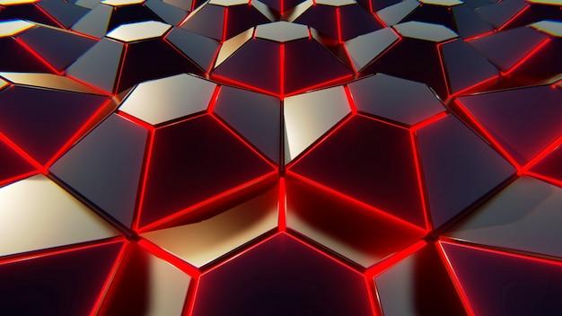 Фон черный синий и оранжевый шестиугольников. современный фон. 3d иллюстрации