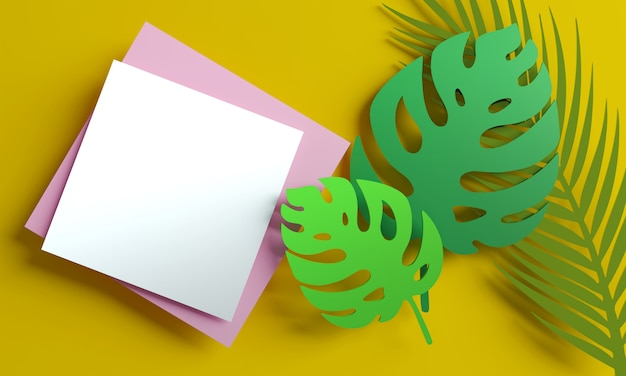 空白の白いグリーティングカードまたはモンステラとヤシの葉でメモ。 3dレンダリング。