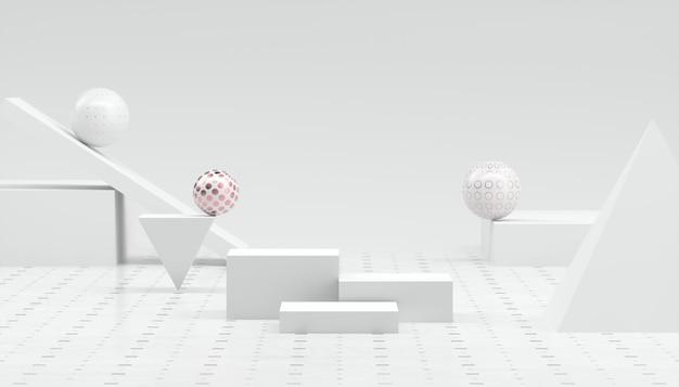 3dレンダリングの抽象的な最小限の白いショーケース