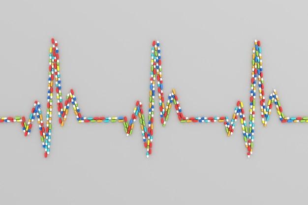 患者の心臓の心電図の形で散らばった多くの錠剤。 3dイラスト