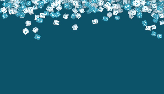 Падающие кубики с вопросительными знаками. 3d иллюстрация