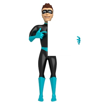 スーパーヒーローの衣装を着た若い笑顔の男は、彼の手で保持し、彼のもう一方の手で空のサインを指しています。 3dイラスト