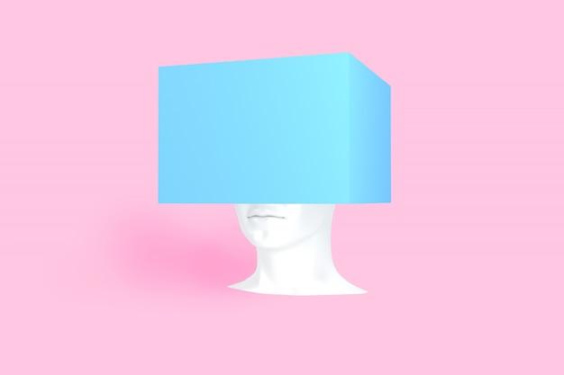 Белая женская голова с синей коробкой на нем. концепт-арт 3d иллюстрации