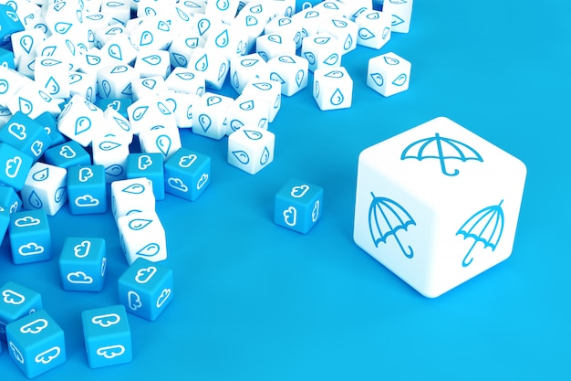 青の背景に散在する雨のアイコンを持つキューブがたくさん。 3dイラスト