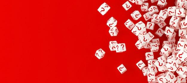 Много падающих блоков с вопросительными знаками. 3d иллюстрация