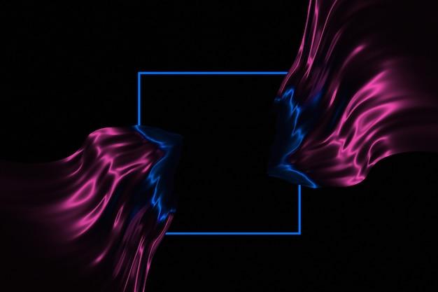 Рама и развивающиеся блестящие полотна 3d иллюстрация ткани