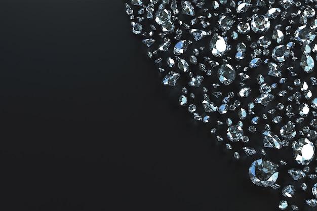 Множество драгоценных камней разбросано по сторонам волнами на черном фоне. 3d иллюстрация