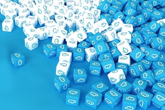 青い背景に散在する雨のアイコンを持つキューブがたくさん。 3dイラスト